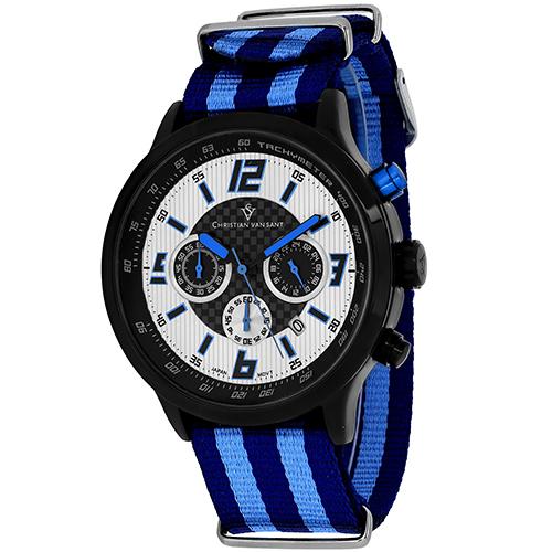 Christian Van Sant Speedway Silver/Blue Men's Watch CV3121NBL