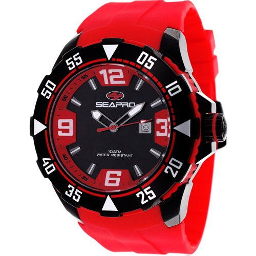 Seapro Diver Black And Red Tone Men's Watch SP1117